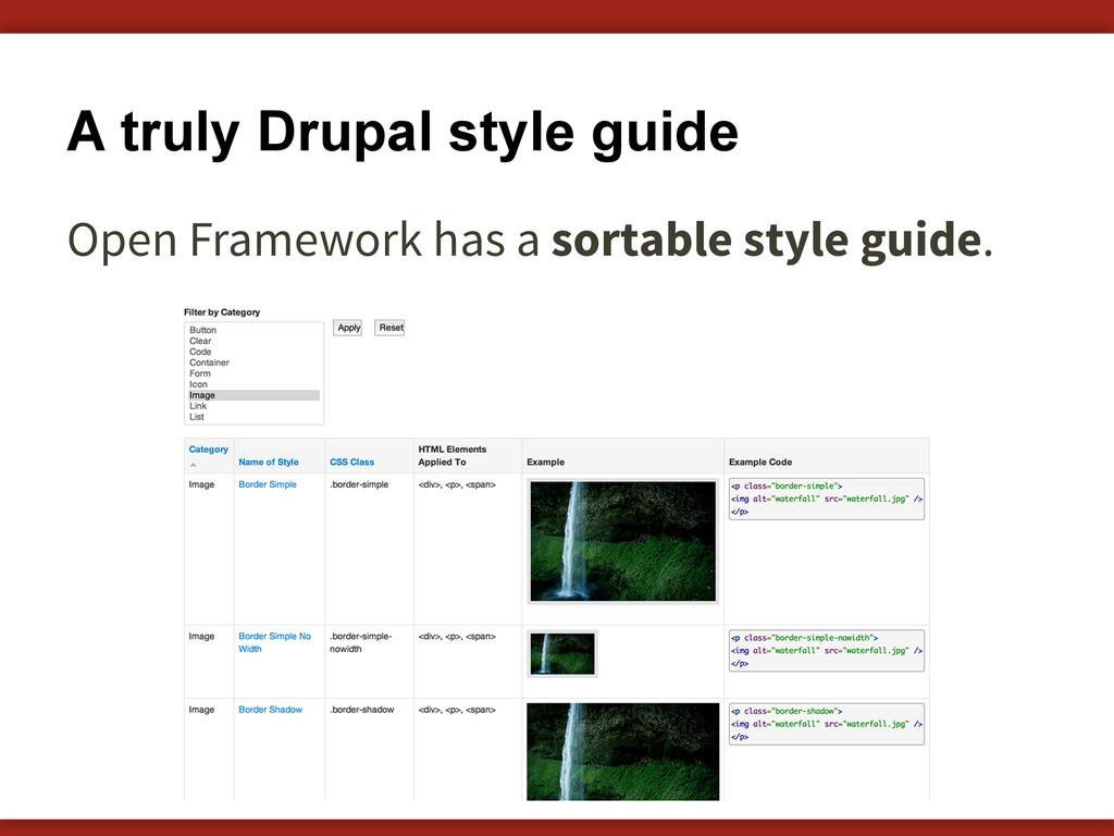 A truly Drupal style guide Open Framework has a...