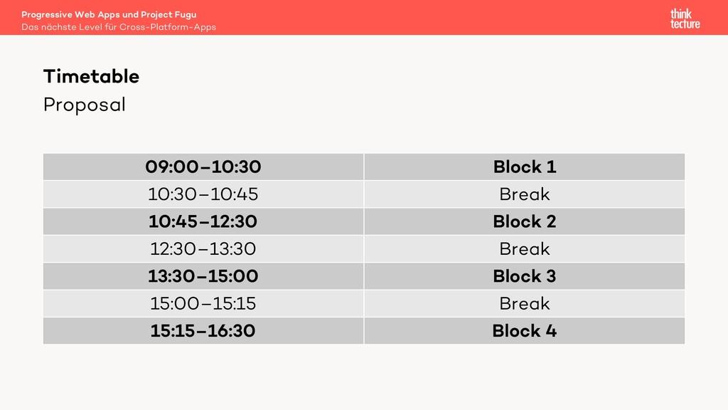 Proposal 09:00–10:30 Block 1 10:30–10:45 Break ...