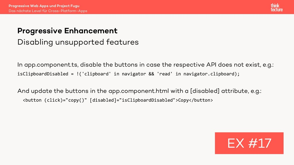 Disabling unsupported features In app.component...