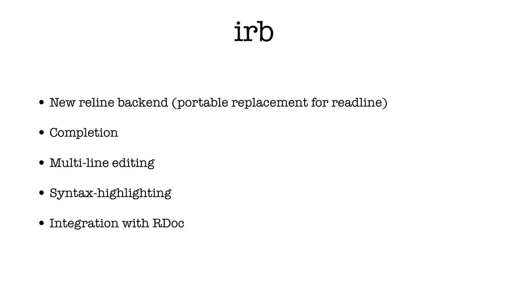 irb • New reline backend (portable replacement ...