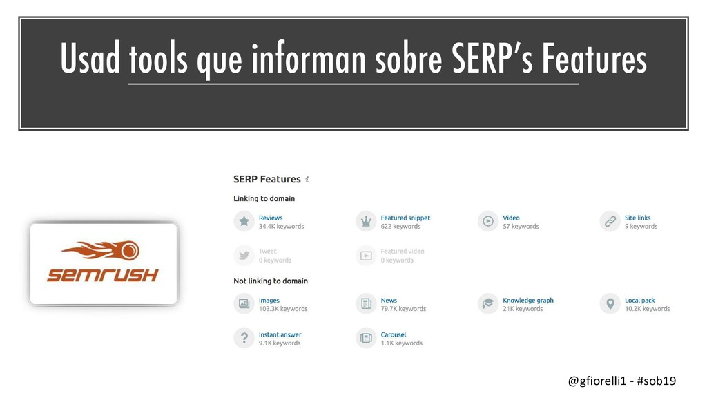 Usad tools que informan sobre SERP's Features @...