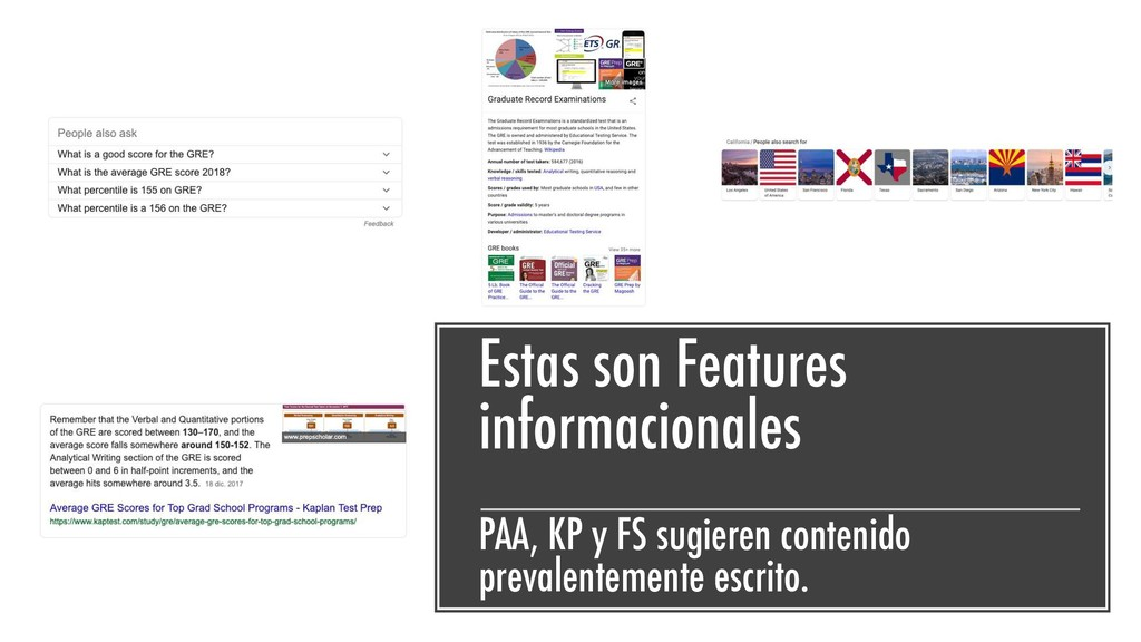 Estas son Features informacionales PAA, KP y FS...