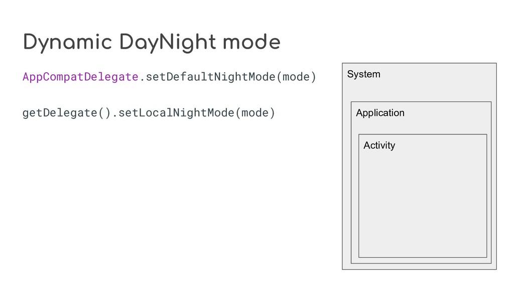 Dynamic DayNight mode AppCompatDelegate.setDefa...