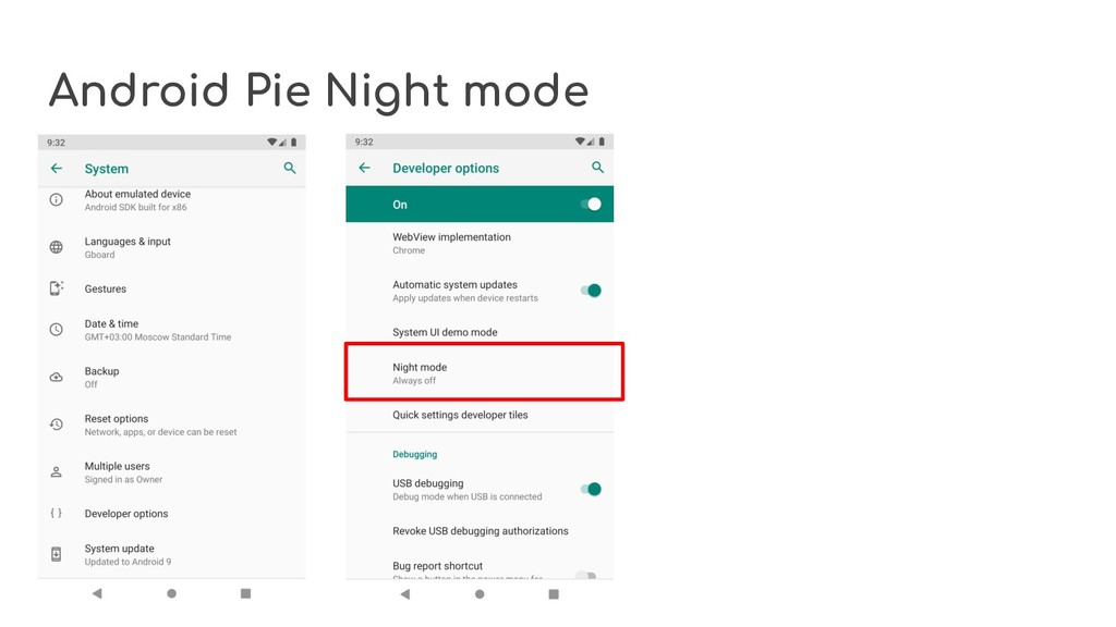 Android Pie Night mode