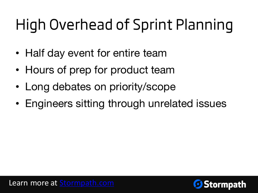 High Overhead of Sprint Planning • Half day eve...