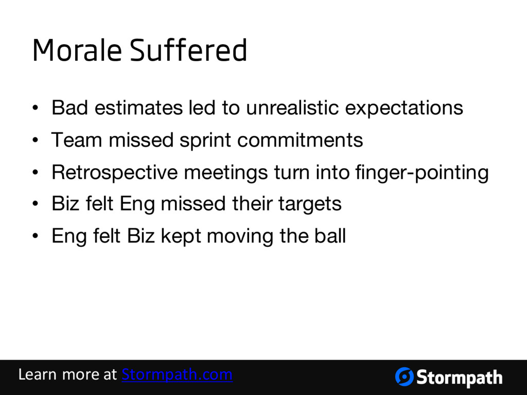 Morale Suffered • Bad estimates led to unrealis...