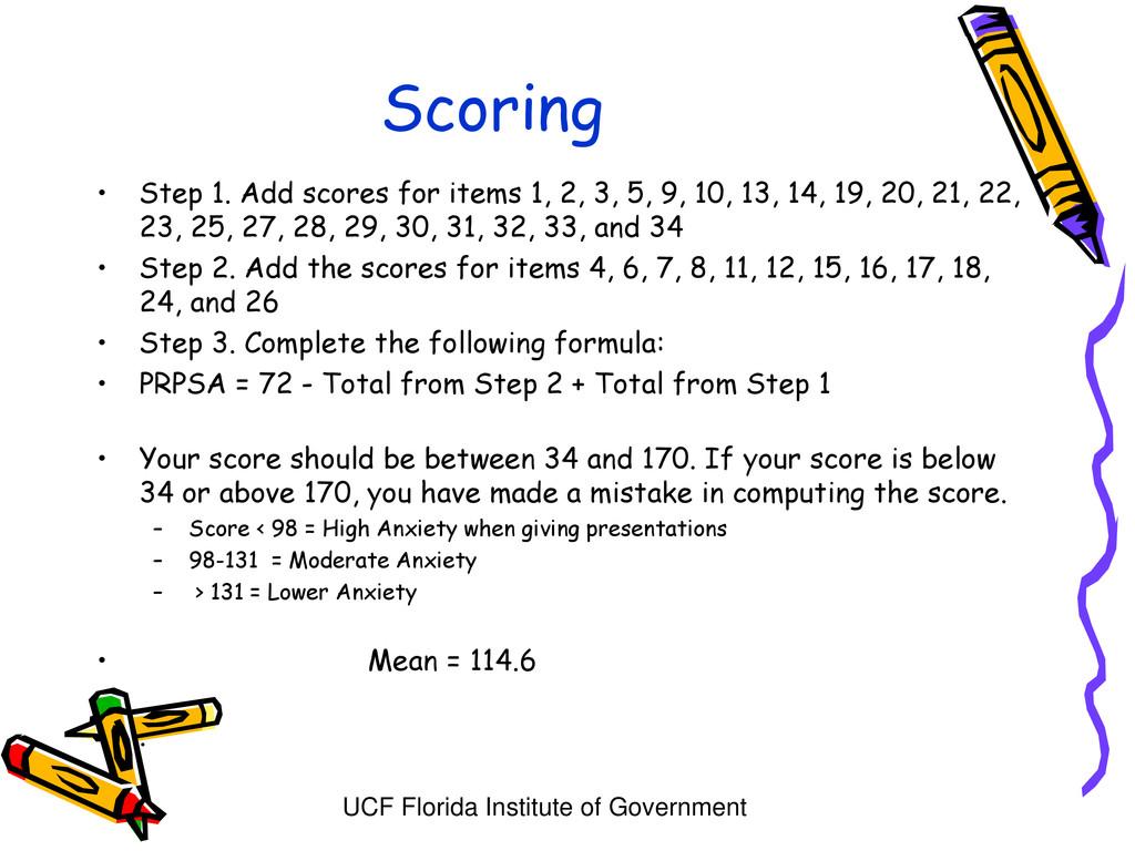 UCF Florida Institute of Government Scoring • S...