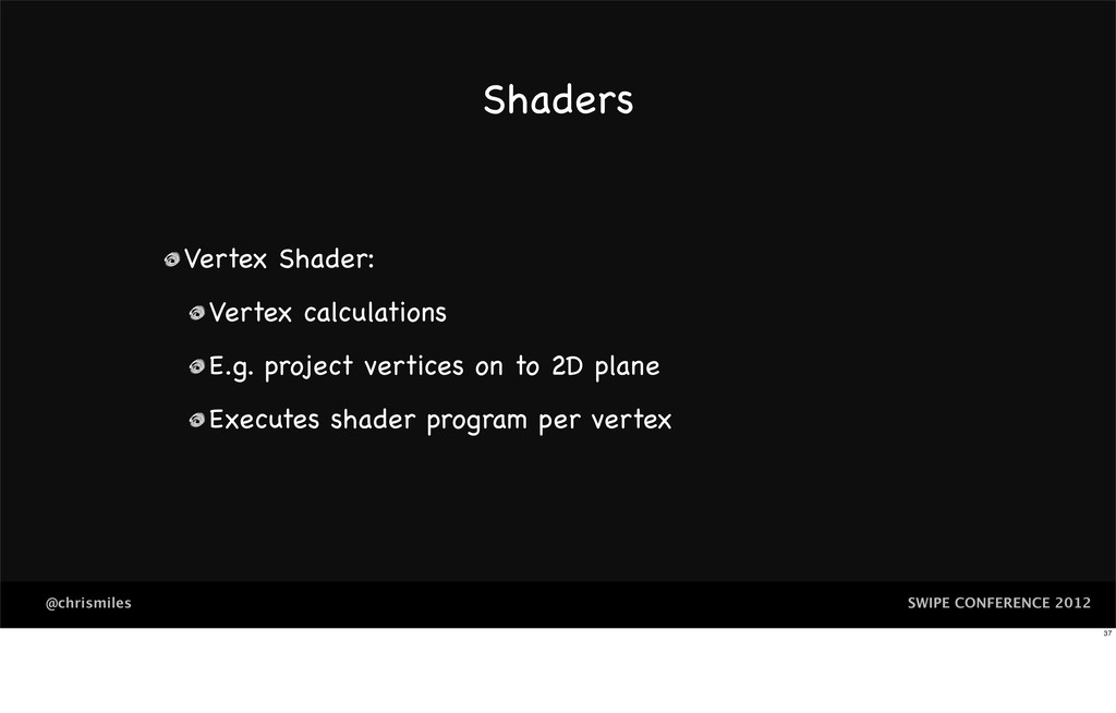 SWIPE CONFERENCE 2012 @chrismiles Shaders Verte...
