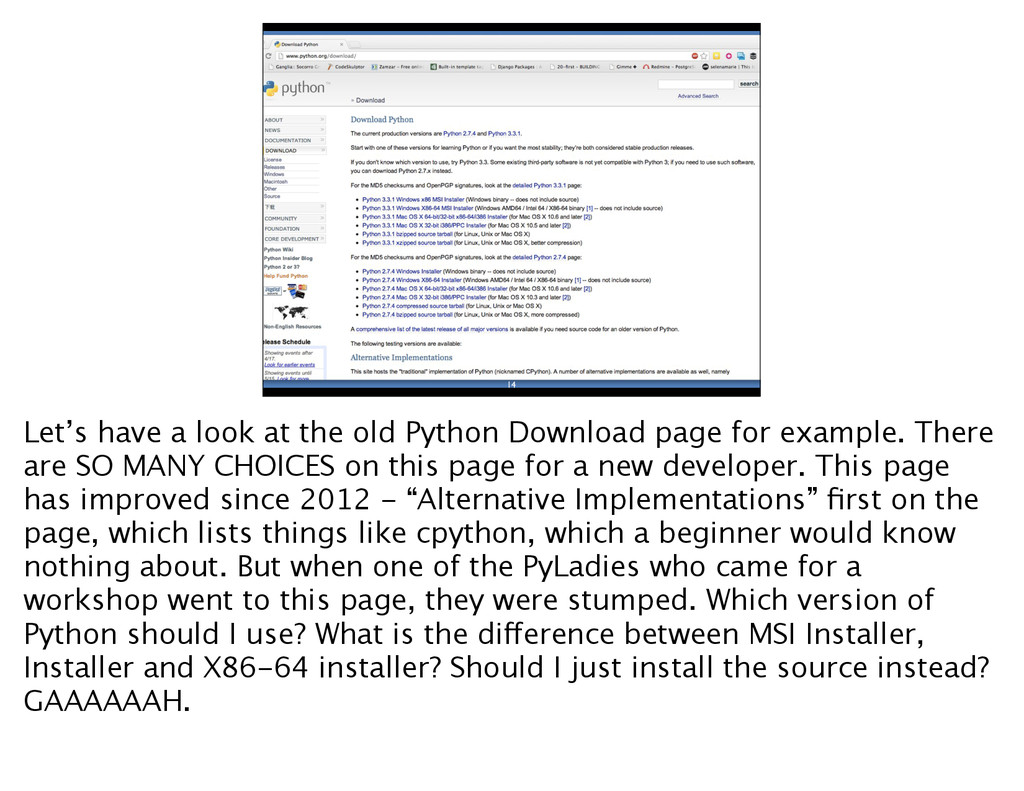 14 Let's have a look at the old Python Download...