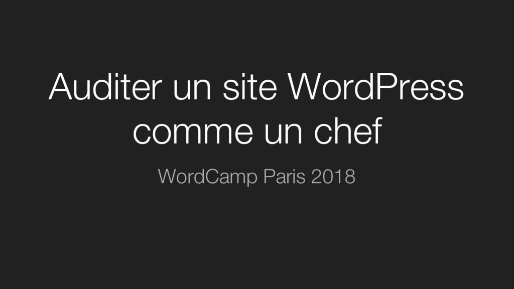 Auditer un site WordPress comme un chef WordCam...