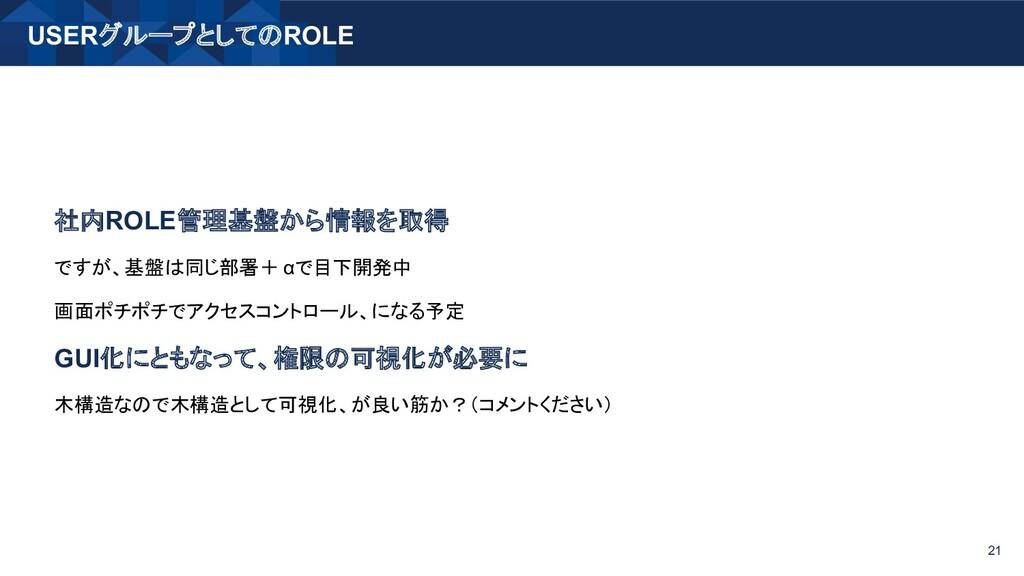 USERグループとしてのROLE 21 社内ROLE管理基盤から情報を取得 ですが、基盤は同じ...
