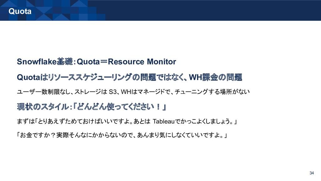 Quota 34 Snowflake基礎:Quota=Resource Monitor Quo...