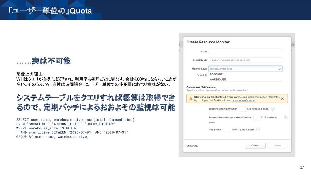 「ユーザー単位の」Quota 37 ……実は不可能 想像上の理由: WHはクエリが並列に処理さ...