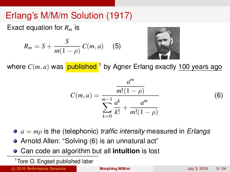 Erlang's M/M/m Solution (1917) Exact equation f...