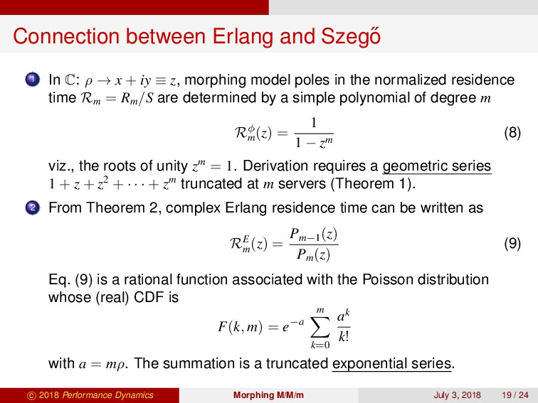 Connection between Erlang and Szeg˝ o 1 In C: ρ...