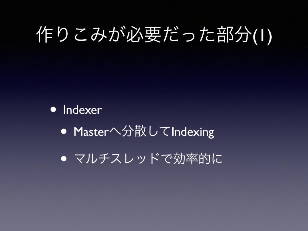 ࡞Γ͜Έ͕ඞཁͩͬͨ෦(1) • Indexer • Masterͯ͠Indexing...