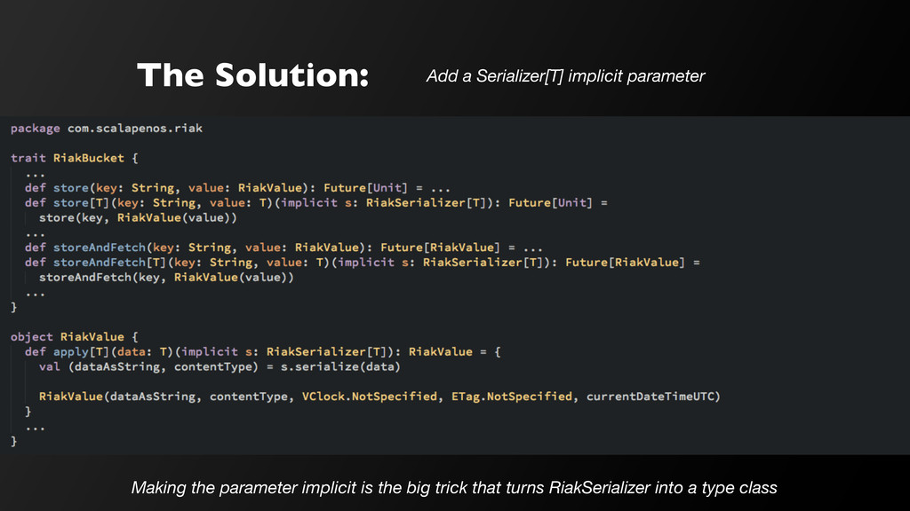 The Solution: Add a Serializer[T] implicit para...