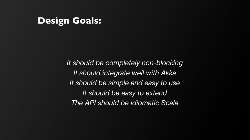 Design Goals: It should be completely non-block...