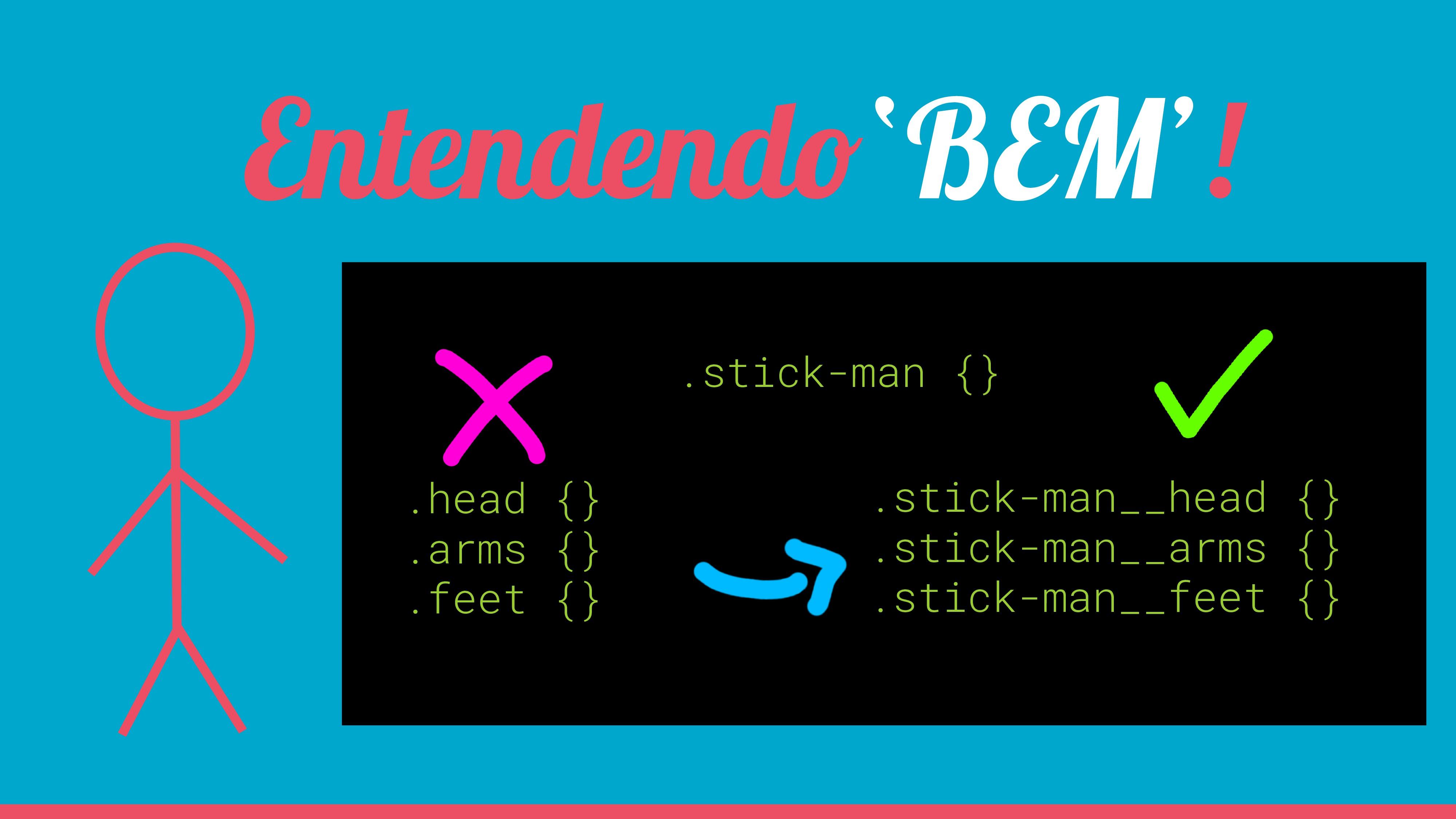 Entendendo'BEM'! .stick-man {} .head {} .arms {...