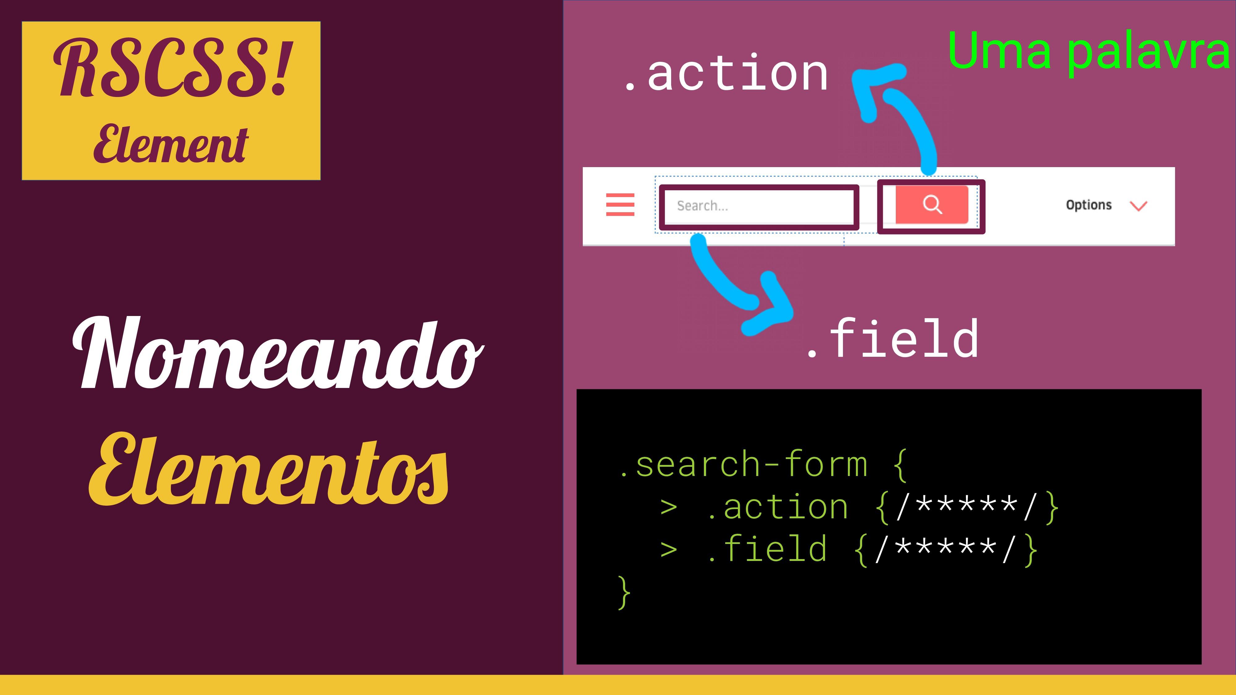 RSCSS! Element Nomeando Elemento .field .action...