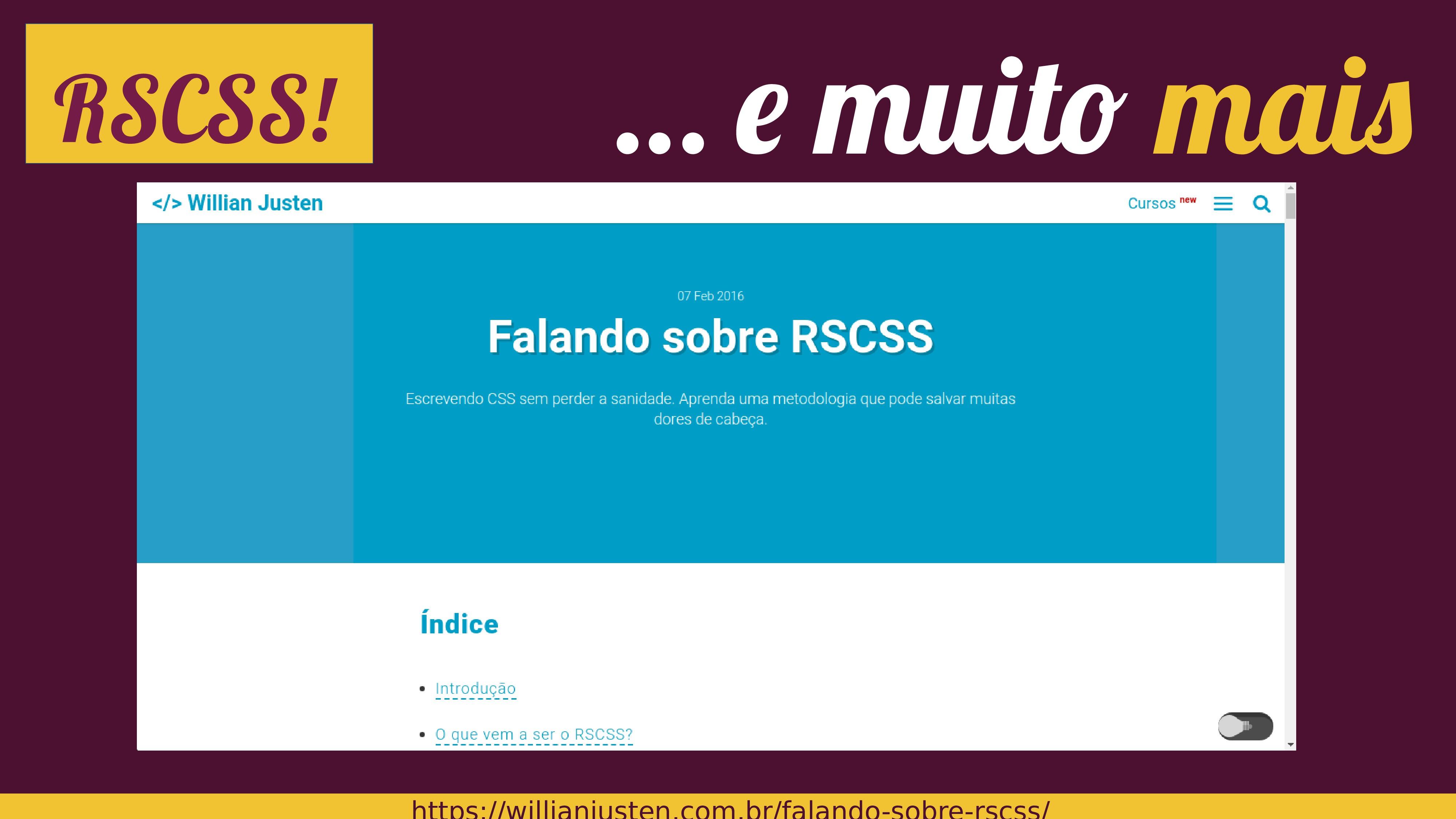 RSCSS! … e muito mais