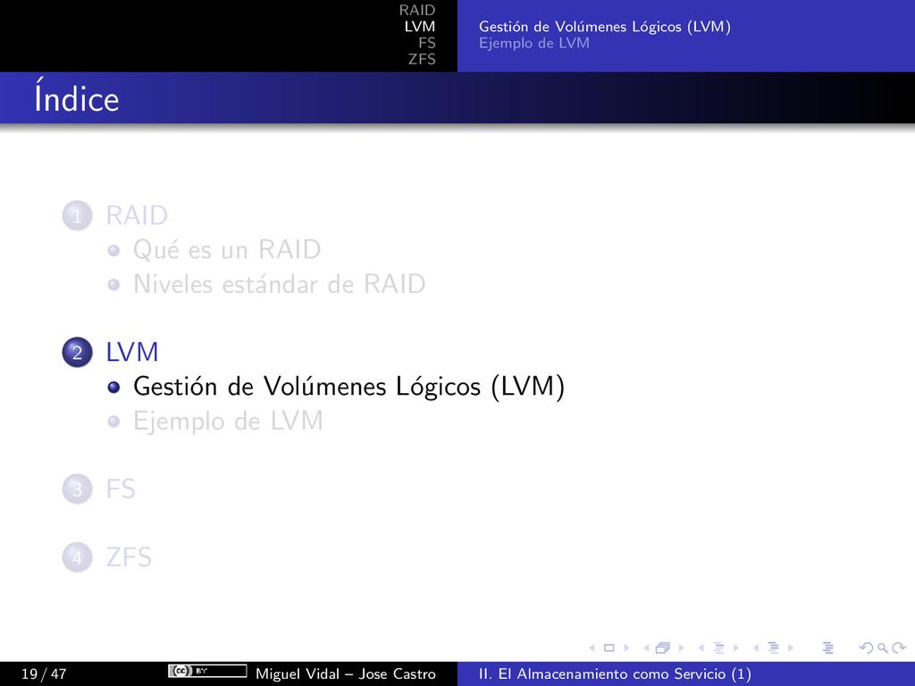RAID LVM FS ZFS Gesti´ on de Vol´ umenes L´ ogi...