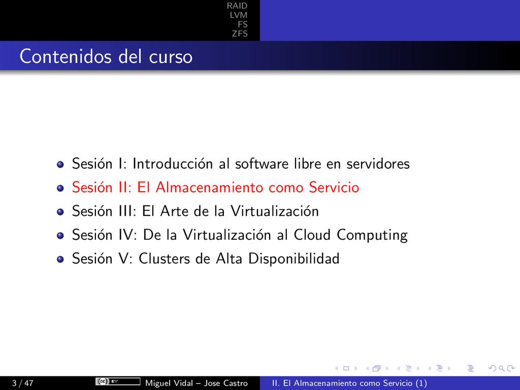 RAID LVM FS ZFS Contenidos del curso Sesi´ on I...
