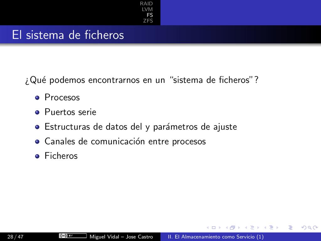 RAID LVM FS ZFS El sistema de ficheros ¿Qu´ e po...