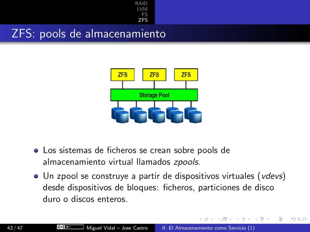 RAID LVM FS ZFS ZFS: pools de almacenamiento Lo...