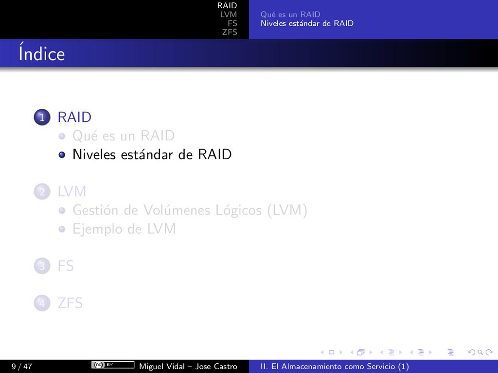 RAID LVM FS ZFS Qu´ e es un RAID Niveles est´ a...