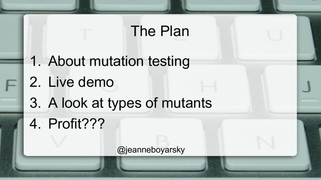 The Plan 1. About mutation testing 2. Live de...