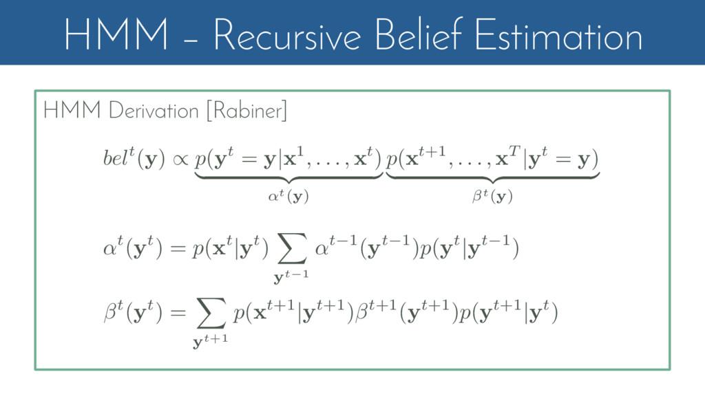 HMM – Recursive Belief Estimation HMM Derivatio...