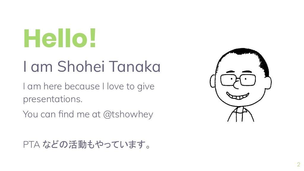 2 Hello! I am Shohei Tanaka I am here because I...