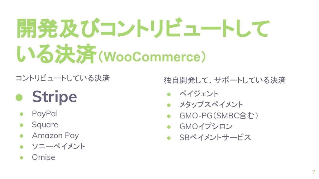 開発及びコントリビュートして いる決済(WooCommerce) 7 コントリビュートしている...