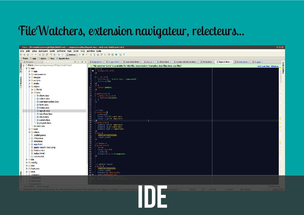 IDE FileWatchers, extension navigateur, relecte...