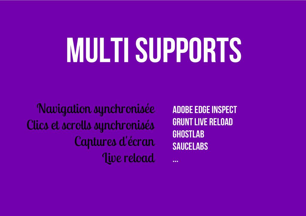 Multi supports Navigation synchronisée Clics et...