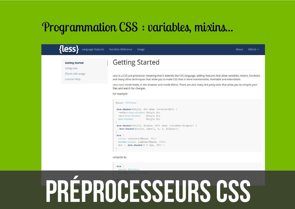 Préprocesseurs CSS Programmation CSS : variable...