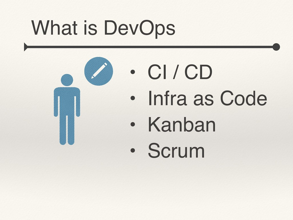 • CI / CD • Infra as Code • Kanban • Scrum What...