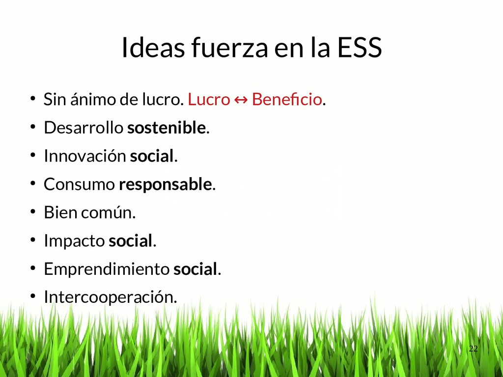 22 Ideas fuerza en la ESS ● Sin ánimo de lucro....