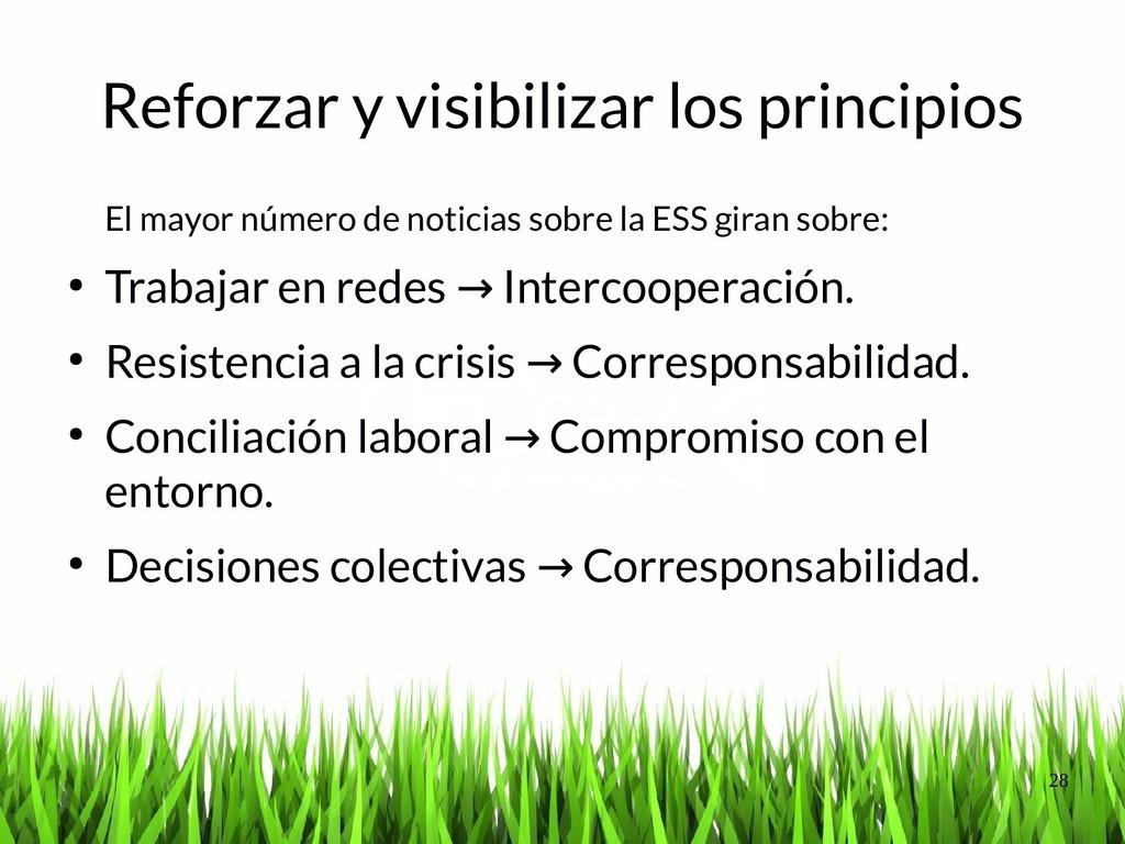 28 Reforzar y visibilizar los principios El may...