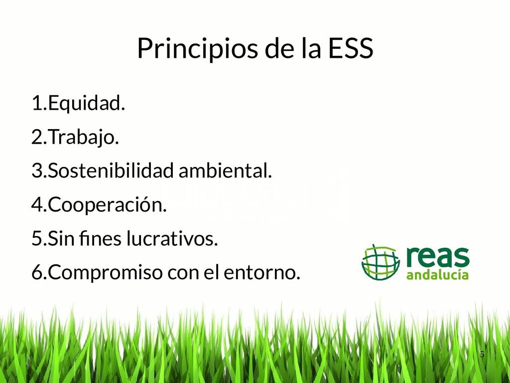 5 Principios de la ESS 1.Equidad. 2.Trabajo. 3....