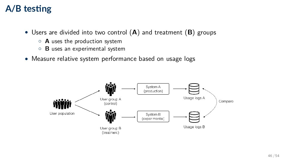 A/B tes ng • Users are divided into two control...