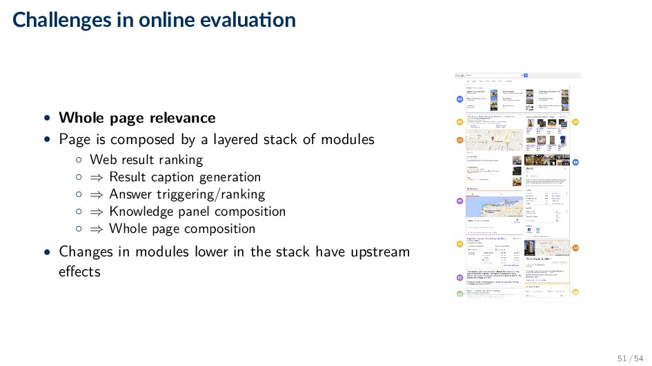Challenges in online evalua on • Whole page rel...