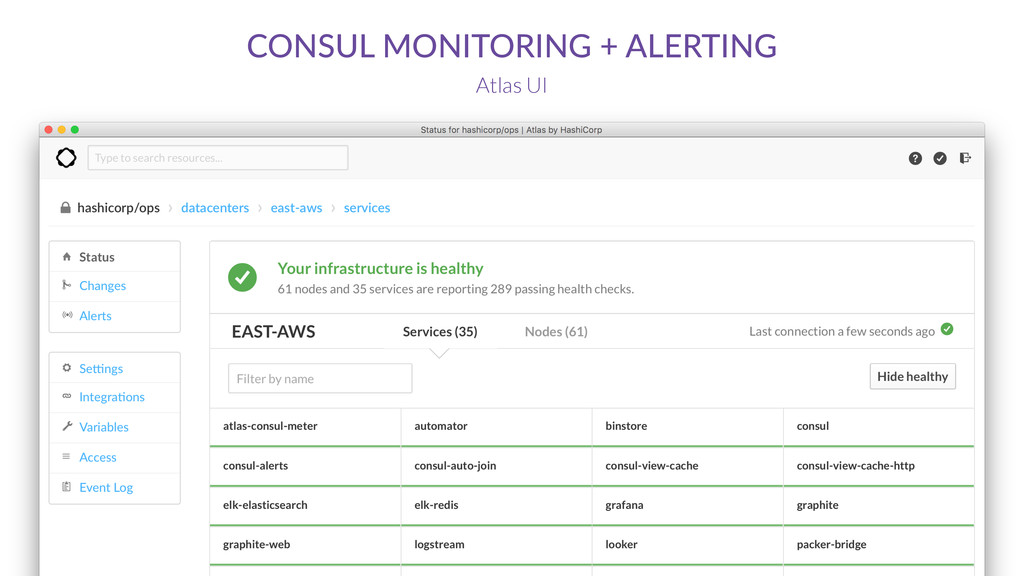 CONSUL MONITORING + ALERTING Atlas UI