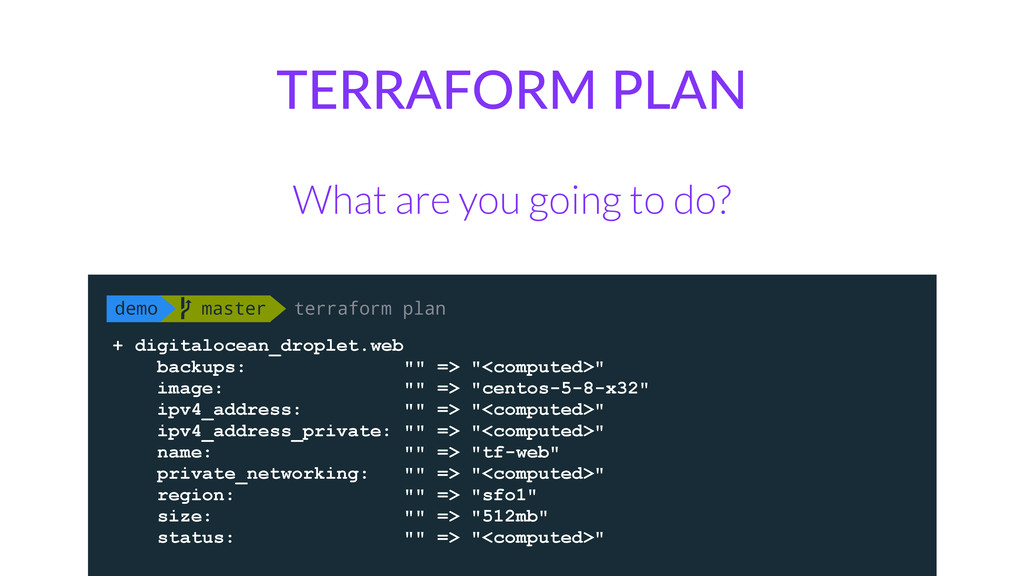 TERRAFORM PLAN What are you going to do? demo ...