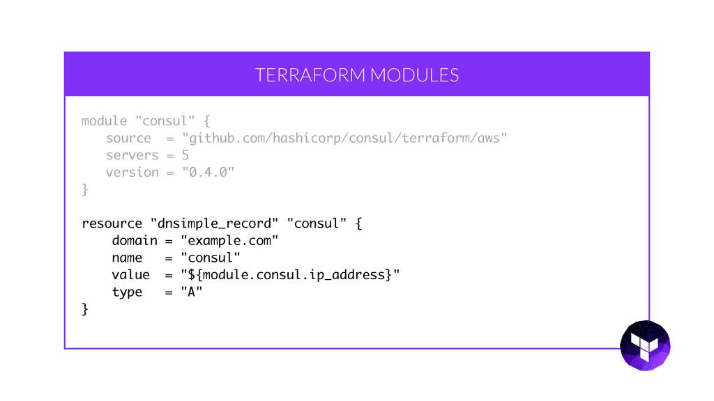 "TERRAFORM MODULES module ""consul"" { source = ""g..."