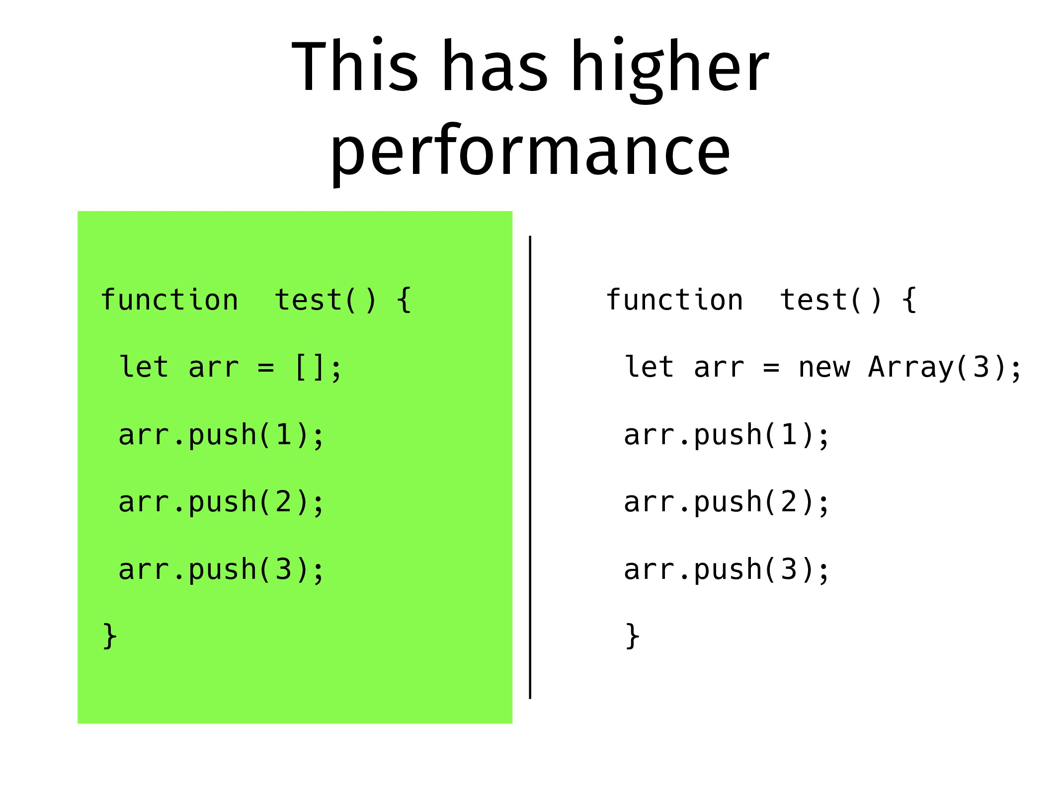 This has higher performance function test() { l...
