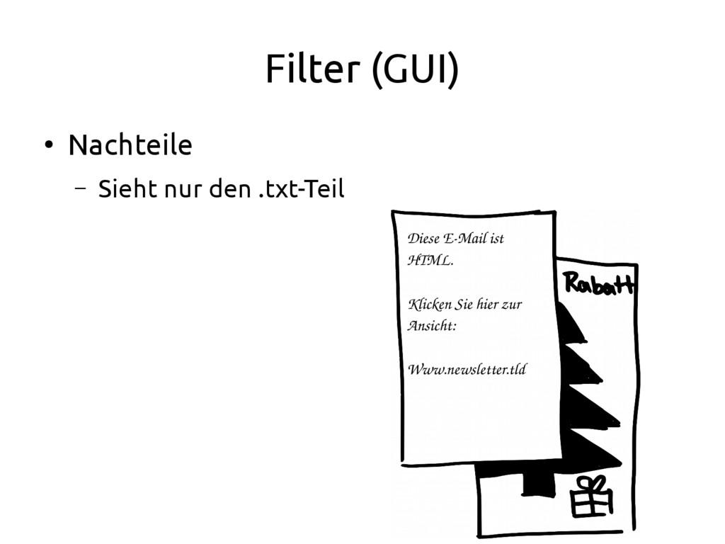 Filter (GUI) ● Nachteile – Sieht nur den .txt-T...