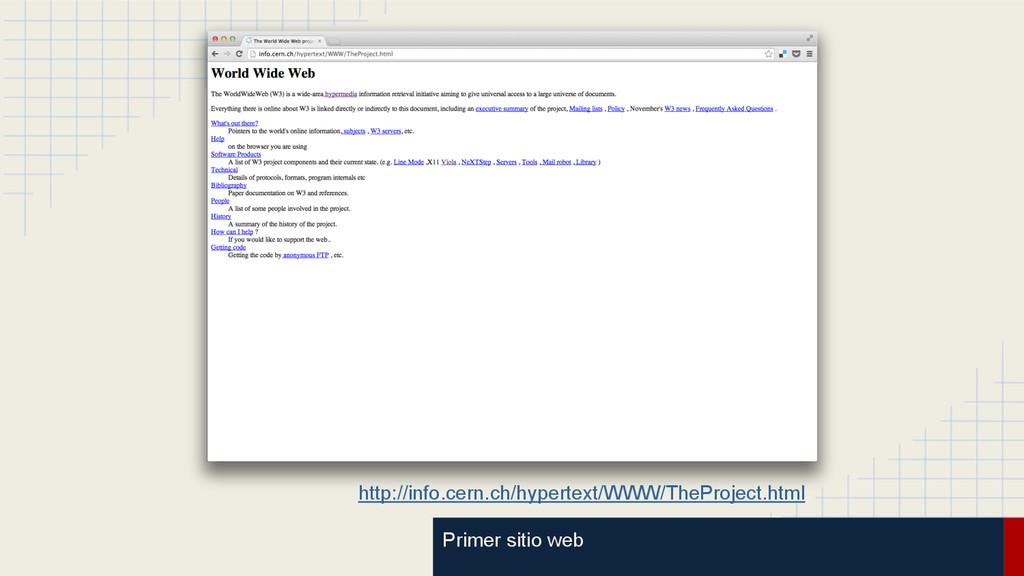 Primer sitio web http://info.cern.ch/hypertext/...