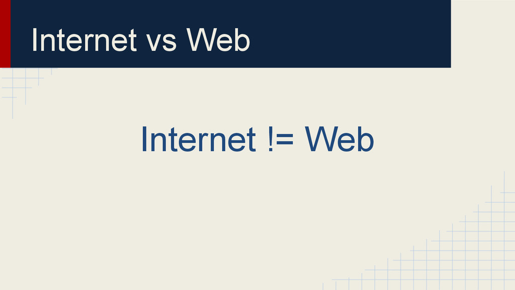 Internet vs Web Internet != Web